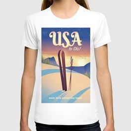 USA Ski travel poster print T-shirt