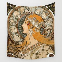 La Plume Zodiac by Alphonse Maria Mucha Wall Tapestry