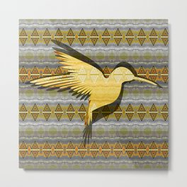 Ancestral Golden Hummingbird Neo Tribal Totem Print Metal Print