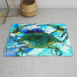 Blue Crab - Abstract Seafood Painting Rug