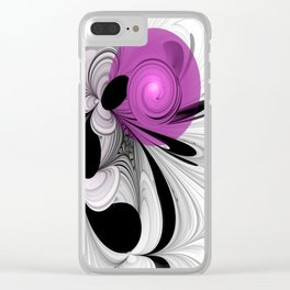 Abstract Black And White With Orchid Clear iPhone Case