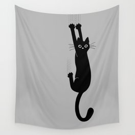 Black Cat Hanging On | Funny Cat Wall Tapestry