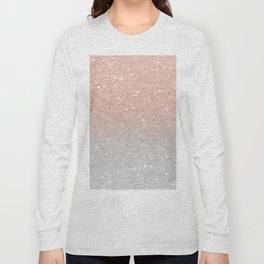 Modern trendy rose gold glitter ombre silver glitter Long Sleeve T-shirt