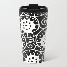 Black and White Swirl Pattern Metal Travel Mug