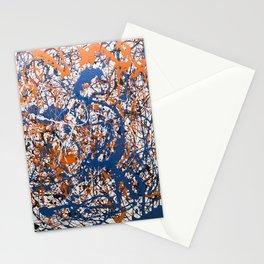 Orange,Blue, Flat black Action painting Stationery Cards