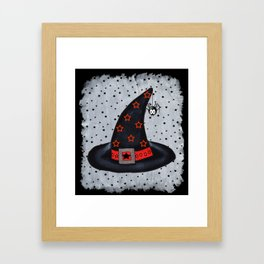Black Witch Hat Silver Buckle Black Stars Cute Dangling Spider Framed Art Print