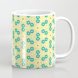 Scattered Teal Yellow Pattern Coffee Mug