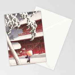 Japanese Art - The Zojo Shrine in Shiba by Kawase Hasui, 1925 Stationery Cards