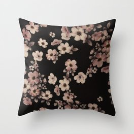 FLORAL PINK CHERRY BLOSSOM Throw Pillow
