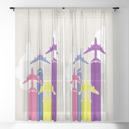 Colorful airplanes Sheer Curtain