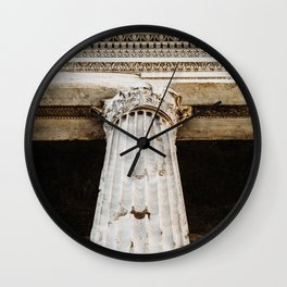 Detail of entablature and column from The Temple of Hadrian, in Rome, Italy. Wall Clock