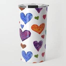 Colorful hearts. Festive background of watercolor hearts! Travel Mug