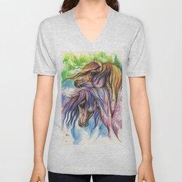 rainbow horses Unisex V-Neck