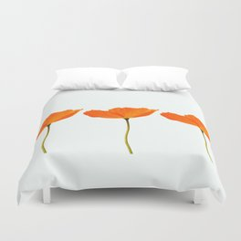 Three Orange Poppy Flowers White Background #decor #society6 #buyart Duvet Cover