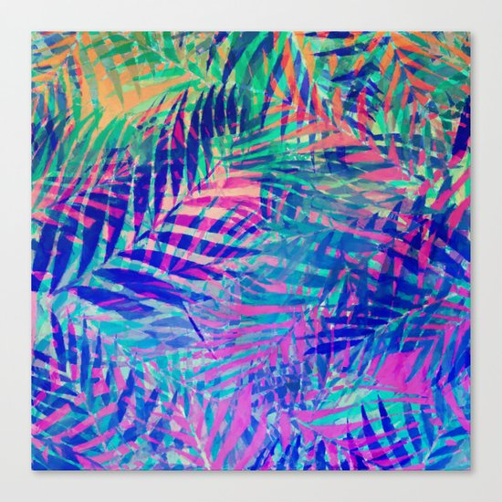 Colorful abstract palm leaves 2 Canvas Print