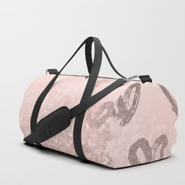 Rose Gold Sparkles on Pretty Blush Pink with Hearts Duffle Bag