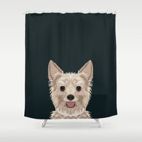 yorkie Shower Curtains featuring Tanner - Yorkshire Terrier gifts and gifts for dog person and dog people gift ideas by PetFriendly