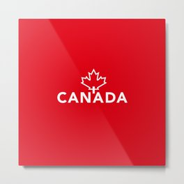Canada with Maple Leaf Metal Print