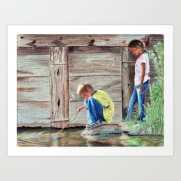 Playing in Water Art Print
