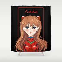 evangelion Shower Curtains featuring Lady Asuka by Pendientera