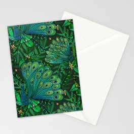 Peacocks in Emerald Forest Stationery Cards