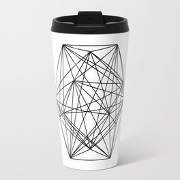 Geometric Crystal - Black and white geometric abstract design Travel Mug