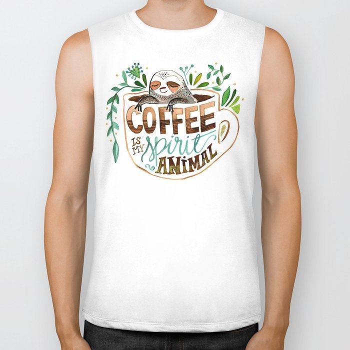 Coffee is my spirit animal Biker Tank