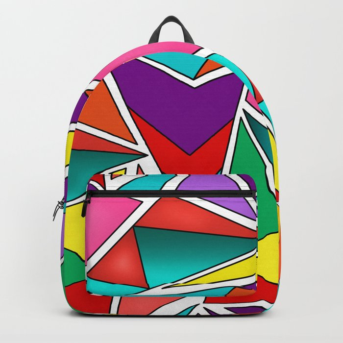 A colorful, abstract pattern polygons . Backpack