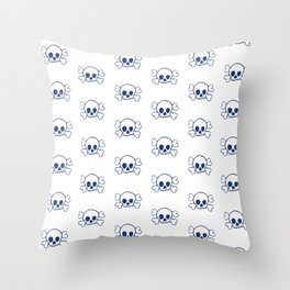 Navy Skull and Crossbones Pattern and Print Throw Pillow