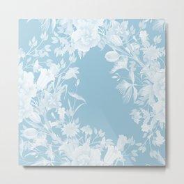 Stardust Crystal Blue Floral Motif Metal Print