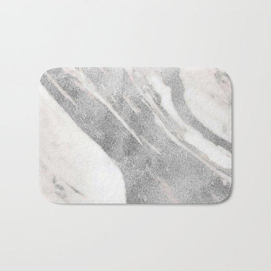 Marble - Silver Glitter on White Metallic Marble Pattern Bath Mat