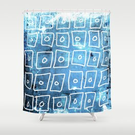 Blue Squares Abstract Shower Curtain