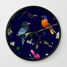 Birds, Berries and Flowers Wall Clock