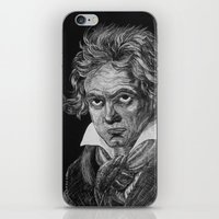 beethoven iPhone & iPod Skins featuring Beethoven by Sean Villegas
