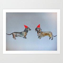Sausage dog party Art Print