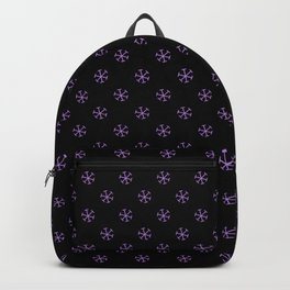Lavender Violet on Black Snowflakes Backpack