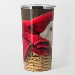 Westie Puppy Dog in the Laundry Basket Travel Mug