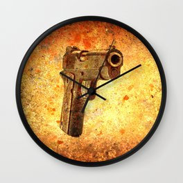 M1911 Muzzle On Rusted Background 3/4 View Wall Clock