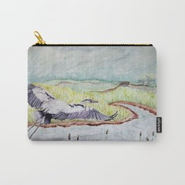 Flight of the Great Blue Heron, Trojan Oregon painting Carry-All Pouch