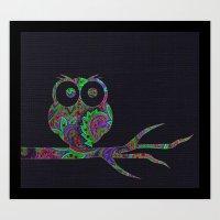Owl on a branch Art Print