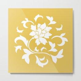 Oriental Flower - Mustard Yellow Circular Pattern Metal Print