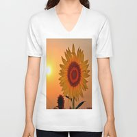 sunflower V-neck T-shirts featuring sunflower by  Agostino Lo Coco