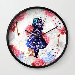 Alice in Wonderland - I'm Not Crazy Wall Clock