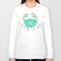 crab Long Sleeve T-shirts featuring Crab – Turquoise & Gold by Cat Coquillette