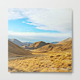 Lindis Pass in Summer, Central Otago, South Island, New Zealand Metal Print