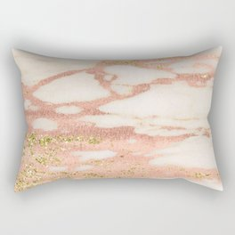 Marble - Rose Gold Shimmer Marble with Yellow Gold Glitter Rectangular Pillow