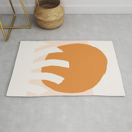 Abstract Mid Century Modern Minimal Shapes 09 Orange Rug