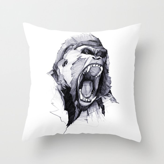 Wild Rage Throw Pillow