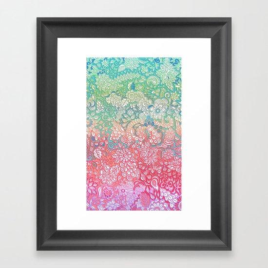 Soft Pastel Rainbow Doodle Framed Art Print