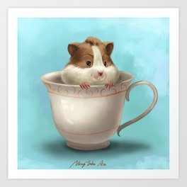 hamster in the cup Art Print